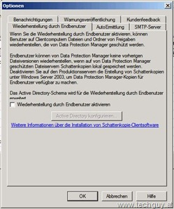 DPM2010 - Optionen - Wiederherstellung durch Endbenutzer2