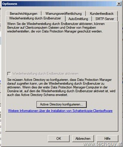 DPM2010 - Optionen - Wiederherstellung durch Endbenutzer