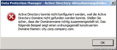 Data Protection Manager - Active Directory-Aktualisierungsfehler