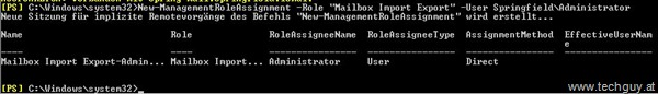 "New-ManagmentRoleAssignment –Role ""Mailbox Import Export"" –User"