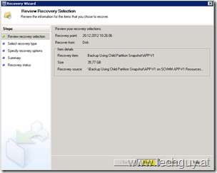 DPM 2012 Recovery Wizard