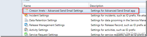 Cireson itnetx Advanced Send Email Settings